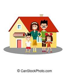 House Ikone mit glücklicher Familie.