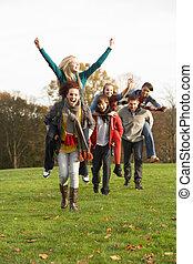 huckepack, jugendlich, clique, herbst, reitet, haben, landschaftsbild