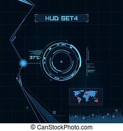 HUD und GUI Set. Futuristische Benutzeroberfläche.