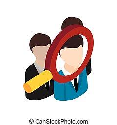 Human Resources Icon, isometrische 3D-Stil.