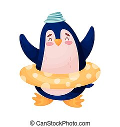 Humanisierter Pinguin mit einem aufblasbaren Kreis. Vector Illustration auf weißem Hintergrund.