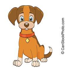 hund, abbildung, kragen, vektor, white., junger hund, karikatur