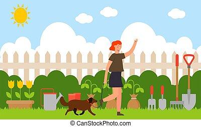 hund, frau, kleingarten, gehen, sie