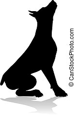 hund, haustier, silhouette, tier