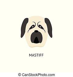 hund, hintergrund, freigestellt, karikatur, mastif, kopf, weißes