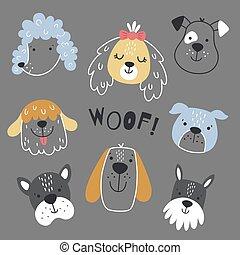 hund, hintergrund, satz, skandinavisch, grau