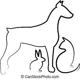hund, , katz, vektor, kanninchen, logo