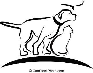 Hund, Katze und Vogel, Line Art Vektor.