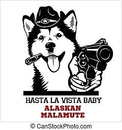 hund, malamute, gangster., gewehr, -, kopf, alaskisch, lustiges