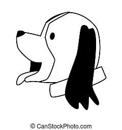 hund, maskottchen, wenig, reizend, zeichen