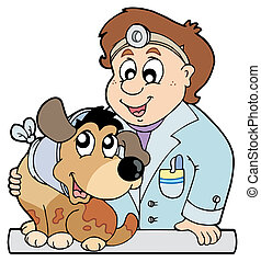 Hund mit Kragen beim Tierarzt