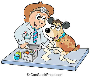 Hund mit kranker Pfote beim Tierarzt