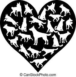 hund, shepard, deutsch, elsässisch, herz, begriff