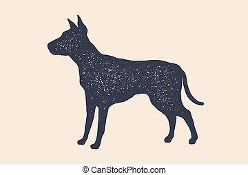 Hund, Silhouette. Konzeption von Heimtieren
