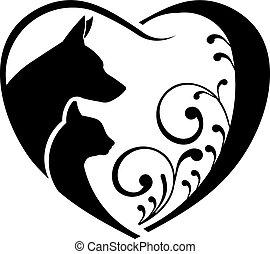 Hund und Katze lieben das Herz. Vektorgrafik