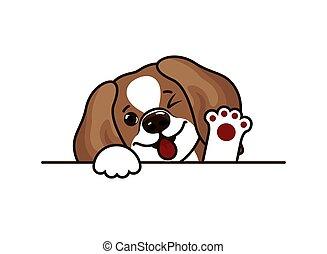 hund, vektor, beagle