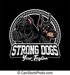 hund, vektor, logo, starke