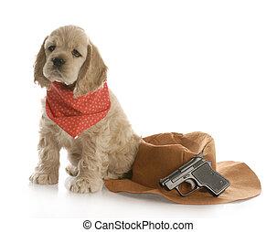 Hund verkleidet sich als Cowboy