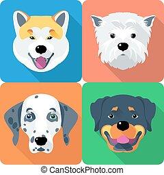 Hunde akita inu, dalmatinisch, Rottweiler und West Highland weißer Terrier Icon flach Design.