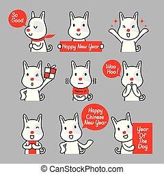 Hunde-Emoticons Symbole gesetzt, Jahr des Hundes.