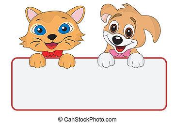 Hunde und Katzen halten ein sauberes Banner.