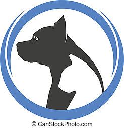 Hunde- und Katzensilhouetten-Logo.
