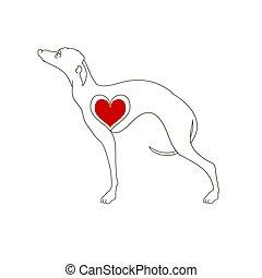 Hunde züchten Windhunde. Lineares Bild. Tattoo-Hund mit Herz. Hand gezeichnete Vektorgrafik isoliert auf weiß, Logo, T-Shirt Design