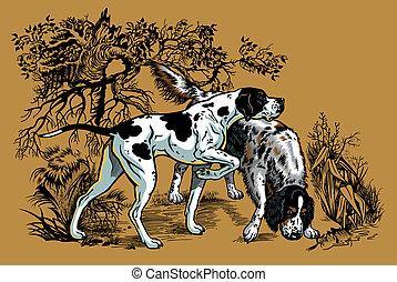 Hunde zu jagen Illustration.