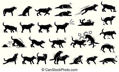 Hundeaktionen, Reaktionen, Haltungen und Körpersprachen Cliparts.