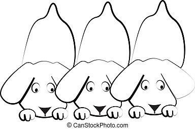 hundebabys, silhouetten, hunden, logo