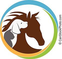 Hundekatze und Pferdelogo.