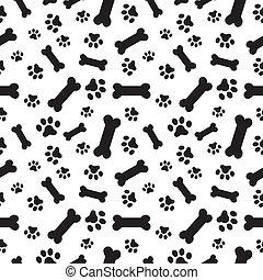 Hundeknochen und Pfotenmuster.