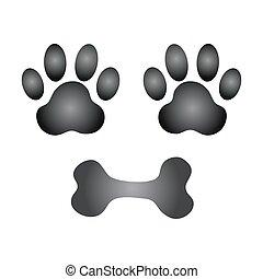 Hundepfote und Knochenvektor.