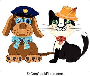 Hundepolizei und Katze mit Hut.