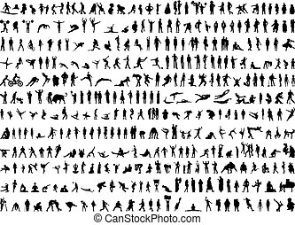Hunderte von menschlichen Silhouetten