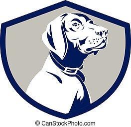 Hundezeigerkopf-Profil Seitenretro.