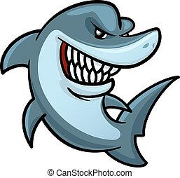 Hungriger Hai mit zahnigem Lächeln Cartoon Charakter