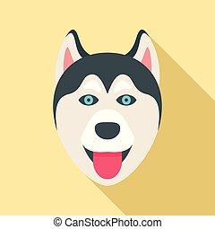 Husky Hundekopf Ikone, flacher Stil