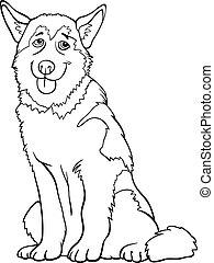 Husky oder bösartiger Hund Cartoon zum Malen