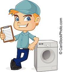 HVAC Technician lehnt sich an die Waschmaschine.