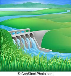 Hydro dam Wasserenergie illustriert