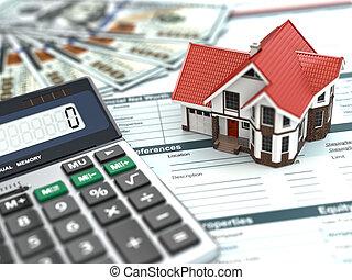Hypothekenrechner. Haus, Geld und Dokument.