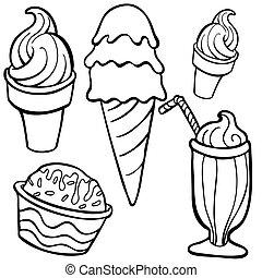 Ice Creme Food Items Line Art