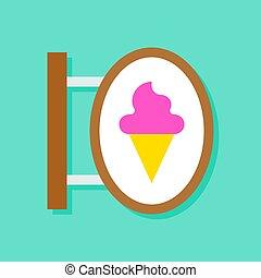Ice-Creme-Shop Zeichen Vektorgrafik, flache Stil Icon.
