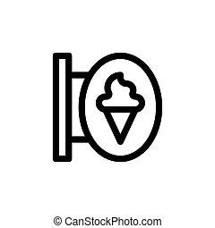 Ice-Creme-Shop Zeichen Vektorgrafik, Line-Stil Icon.