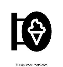 Ice-Creme-Shop Zeichen Vektorgrafik, solide Stil Icon.