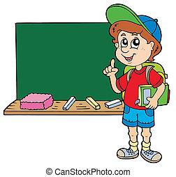 Ich berate den Schuljungen mit der Tafel