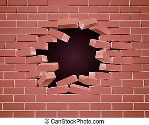 Ich breche ein Mauerloch.