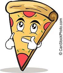 Ich denke an Gesicht Pizza Charakter Cartoon.