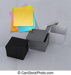 Ich denke außerhalb der Box an zerknittertes, klebriges Papier als Konzept